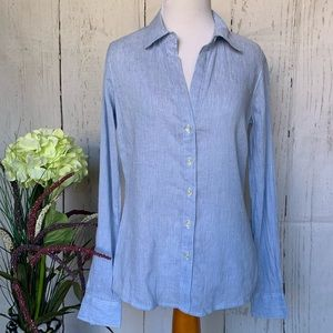 James Perse Striped Button Down Shirt Size 1 Blue